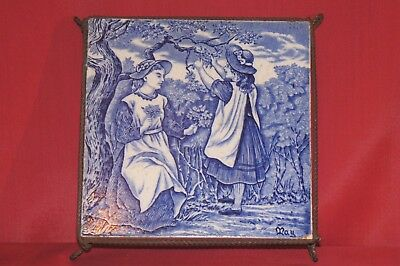 Josiah Wedgwood & Sons Blue & White Tile 'MAY' c1920