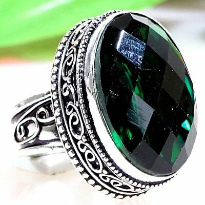Winsome Green Diopside Gemstone .925 Silver Jewelry Vintage Ring S-7.75 P1321