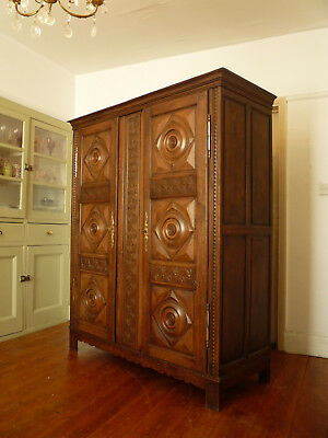 Highly Carved Vintage French Armoire Wardrobe Cupboard