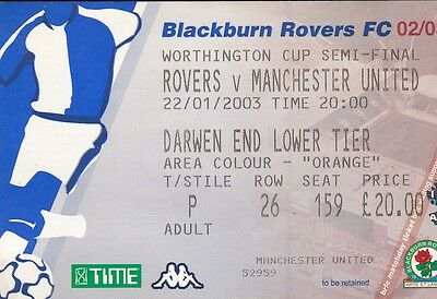 Blackburn V Manchester United 22 January 2005 League Cup Semi Final Ticket