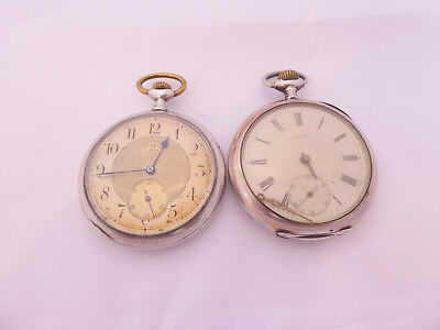 Two Grand Prix Paris 1900 Omega silver/9ct pocket watches for spares & repairs