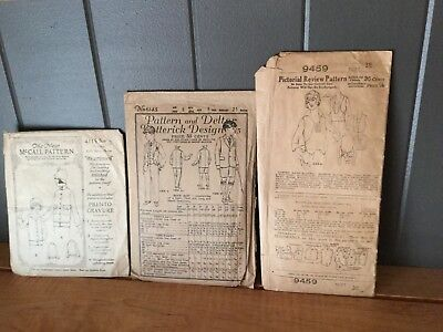 Lot of 9 Vtg 1920s Sewing Patterns