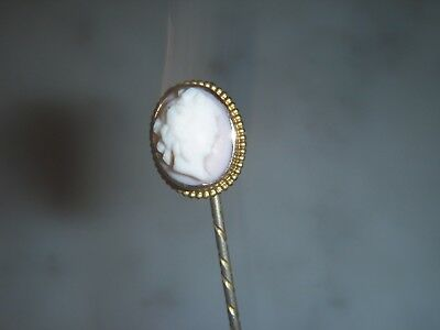 A Fine Antique Victorian Gold Lady Cameo Tie Stick/pin