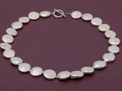 Classic Women 15-16mm White Button Natural Freshwater Pearl Necklace 18Inches