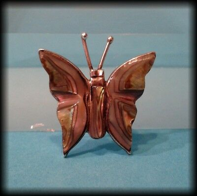 Vintage Mexican 925 Solid Sterling Silver & Abalone Shell Butterfly Brooch