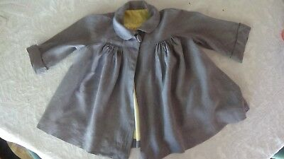 VINTAGE Girl Child coat circa 1950's grey cotton probably size 3 or 4