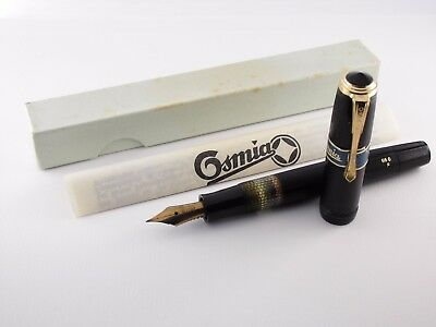 "Vintage ""Osmia 66G"" Fountain Pen-Black Piston Filler-Box & Papers-Germany 1930s"