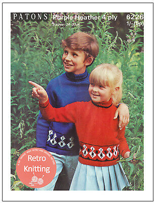 Childs Fair Isle Sweater  Vintage Knitting Pattern Copy
