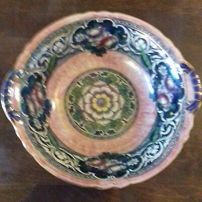 New Hall China Boumier Ware Bowl, Lucien Bollemier, Pink Lustre