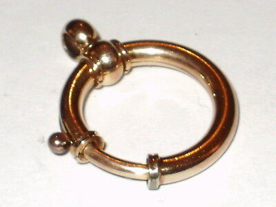 Antique 18Ct Rose Rolled Gold Oversized Bolt Clasp, 16 Mm Inside Diameter