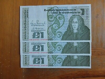 IRELAND £1 Pound    THREE IN SEQUENCE  17-7-89  Series B  Banknote