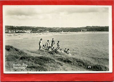 Real Photo Postcard, Vazon Bay, Guernsey, Channel Islands pmk 1956
