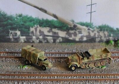 """Two  Z Scale 1:220 Military Vehicles , Sdkfz9  """" Famo """" & Opel Cargo Truck"""