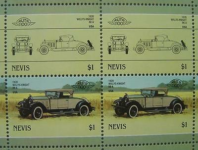 1928 WILLYS KNIGHT 66A Car 50-Stamp Sheet / Auto 100 Leaders of the World