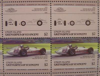 1963 WATSON Indy Roadster Race Car 50-Stamp Sheet Auto 100 Leaders of the World