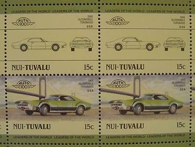 1966 OLDSMOBILE TORONADO Coupe Car 50-Stamp Sheet Auto 100 Leaders of the World