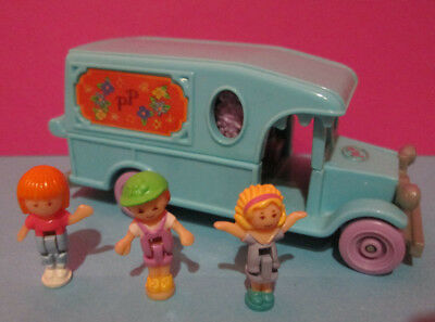 Polly Pocket Mini ♥ Süßes Blumen Auto ♥ Flower Cafe on the Go ♥ 3 Pollys ♥1996♥