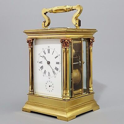 Large Columnated French Striking Carriage Clock c.1890