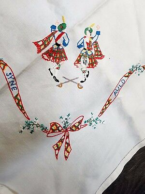 Vintage Unusual 1930S Embroidered Linen Tablecloth Scottish Theme Auld Lang Syne