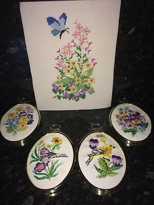 Five Hand Embroidered Miniature Pictures