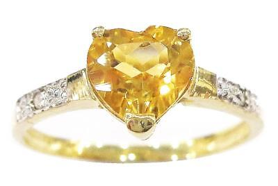 Syjewellery 9Ct Yellow Gold Heart Natural Citrine & Diamond Ring Size N  R1287