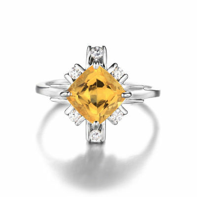 Square Genuine Citrine White Rock Crystal Ring 925 Sterling Silver Size 7