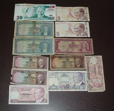 Turkey Lot Of 12 Notes With 50 Kurus & 2 1/2 & 5 Lirasi 1930