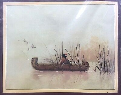 Vintage 1984 Sunset Stitchery Embroidery Kit Still Waters Native American Canoe