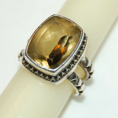 Vintage Lori Bonn Sterling Silver 925 Etched RING Rectagular Light Yellow Stone