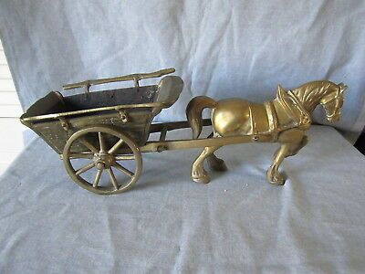Solid Brass Horse and Cart Figurine