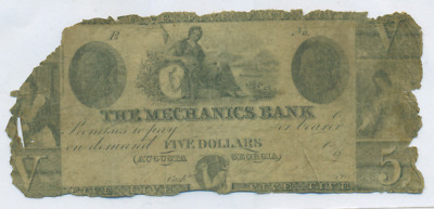 The Mechanics Bank Augusta Georgia $5 Obsolete Note