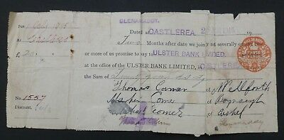 1915, Promissary - ( ULSTER BANK LIMITED ) Glenamaddy, County Galway - Castlerea