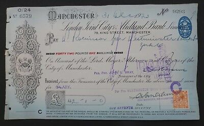 (Q) 1923, Cheque ( LONDON JOINT CITY & MIDLAND BANK LIMITED )