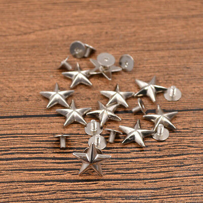 10 Pcs Silver Star Spikes Screw Studs Rivets DIY Hat Shoes Leathercraft Handmade