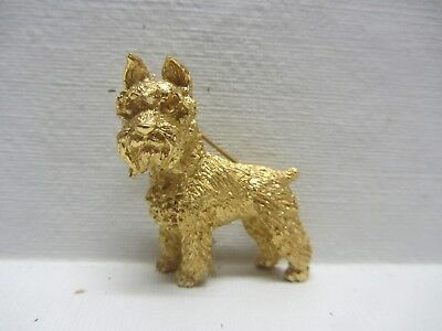 trifari gold tone scottie/westie brooch