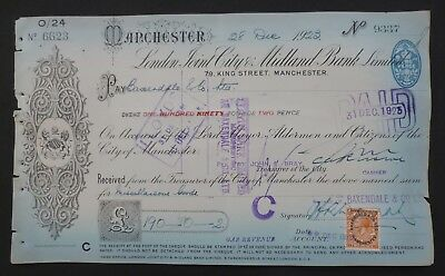 1923, Cheque, Overprint, George V Stamp ( LONDON JOINT CITY & MIDLAND BANK LTD )