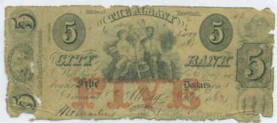 City Bank Of Albany New York $5 Obsolete Note
