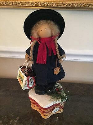 "Longaberger Lizzie High "" Noel""doll With Twinkle Basket And Charm 2001"