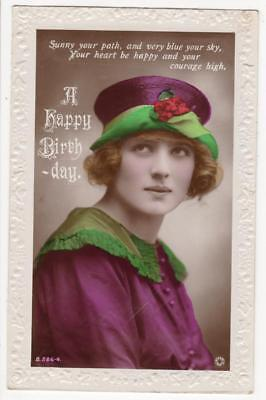 Vintage Rp Postcard,birthday,glamour,young Lady,fashion,nice Hat,1922,rotary