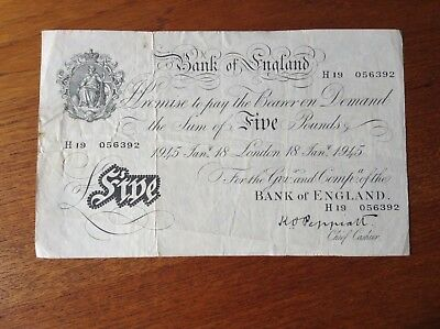 Bank of England White Fiver £5 K.O. Peppiatt Jan. 18th 1945  H19 056392