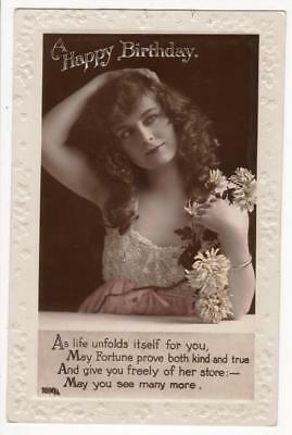 Vintage Rp Postcard,birthday,glamour,young Lady,fashion,flowers,1924