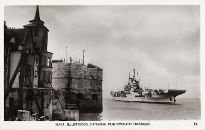 HMS ILLUSTRIOUS ENTERING PORTSMOUTH HARBOUR: Collectable Real Photo