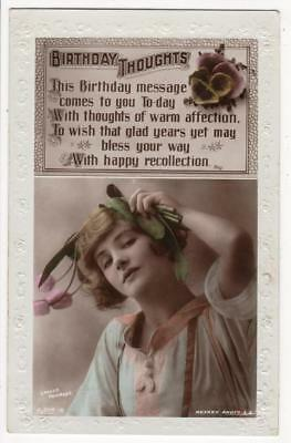 Vintage Rp Postcard,birthday,young Lady,tulips,lallie Charles,rotary,1921