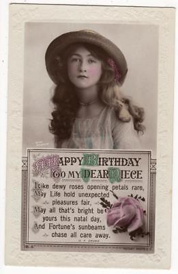 VINTAGE RP POSTCARD,BIRTHDAY,LOVELY YOUNG LADY,STRAW HAT,ROTARY,c1920