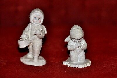 Pair of hand painted pewter Snowbabies miniatures