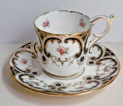 Antique Coalport Blue Swirl & Rose Coffee Cup & Saucer 6427 Alfred B Pearce & Co