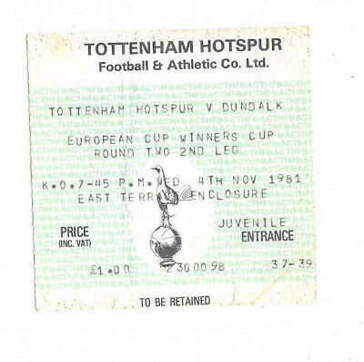 Ticket 1981/82 European Cup Winners Cup - TOTTENHAM HOTSPUR v. DUNDALK
