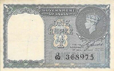 GOVERNMENT OF INDIA 1 RUPEE COIN NOTE 1940 P-25a GEORGE VI