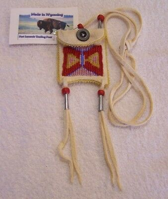 Hand Made Small Beaded Neck Pouch Rendezvous Black Powder Mountain Man 15