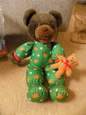 "Vtg AVON 18"" 1993 Plush Talking moving Mouth Teddy Bear Green PJs w/ Baby Bear A"